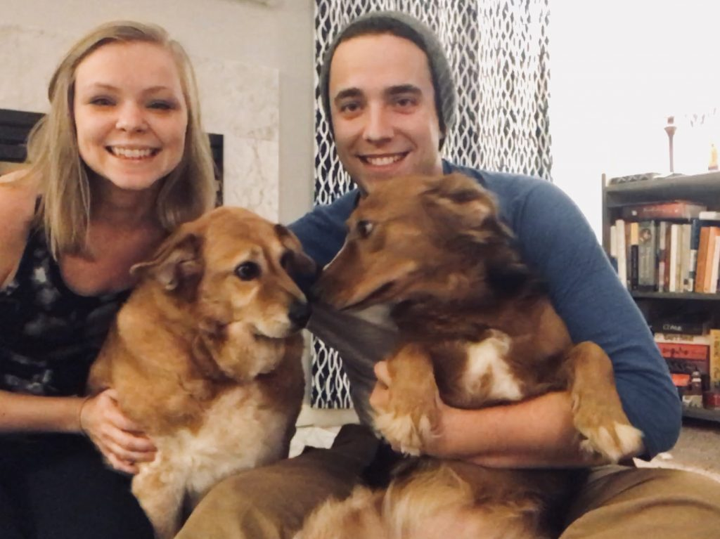 Studel (L) with owners Wynn Horton, 24, and his wife Kristen, 25, and their other dog Chloe.