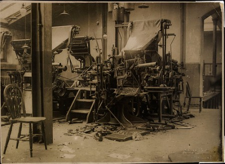The print media has come a long way from the old fashioned printing presses like this one to the digital news of the modern era