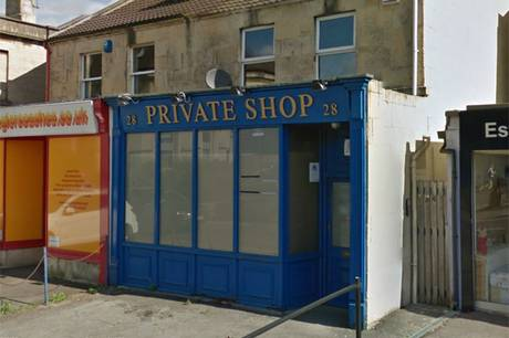 The Private Shop in Bath which was set alight by angry customer Neil Andersen