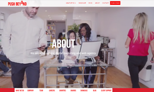 Marketing and design agency Push Beyond's plush new website
