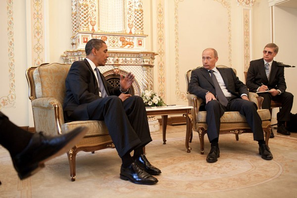 Barack Obama and Vladimir Putin during a meeting