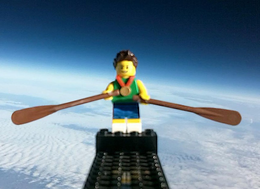 The Lego rower soars 120,000ft above the earth in preparation for a space jump