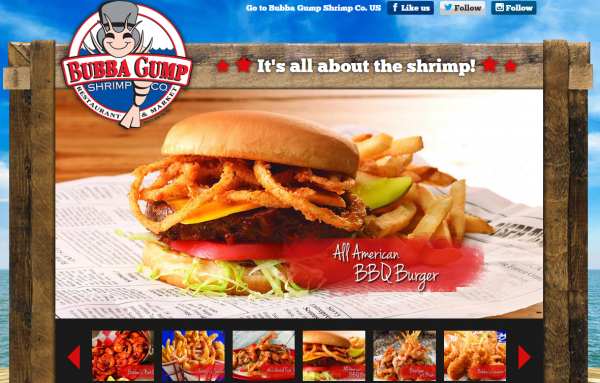 The website for the London branch of Bubba Gump Shrimp Co.