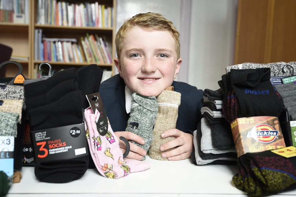 Joseph Cox, 11, from Leith Primary School has started collecting socks to give to homeless people which is he calling Socks For The Street.