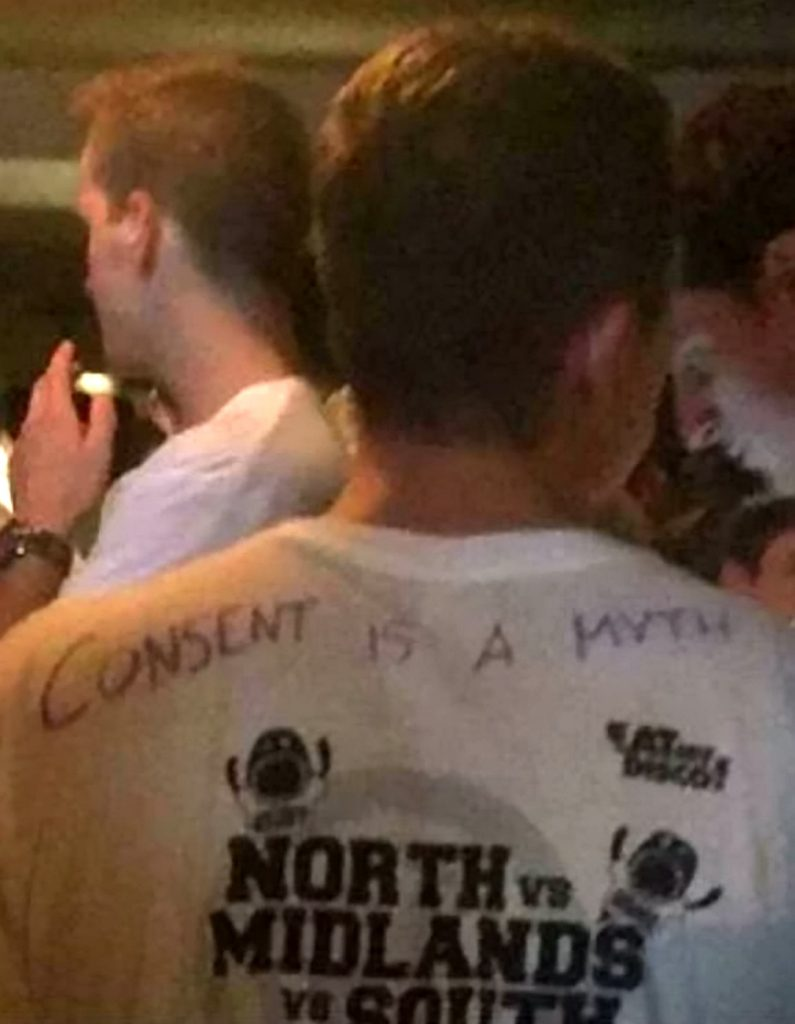 A student wearing the 'consent is a myth' top.