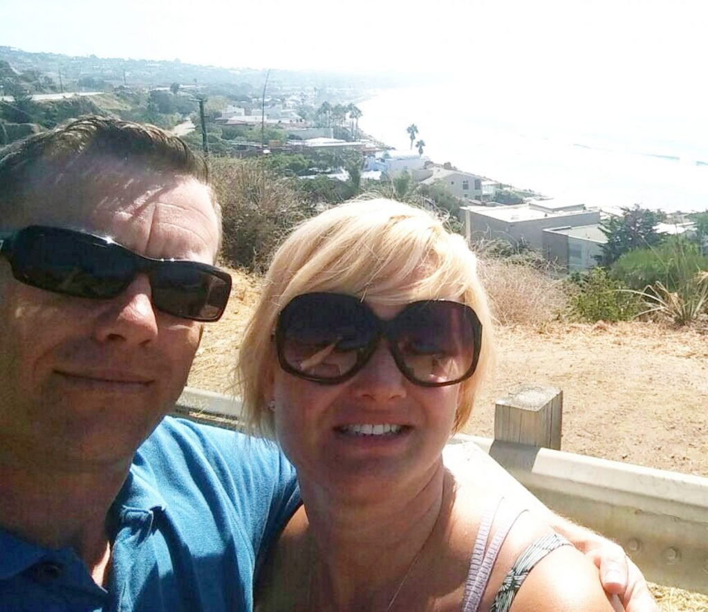 Tony Dumbleton and wife Lucy  in Malibu on the day before the Vegas shooting