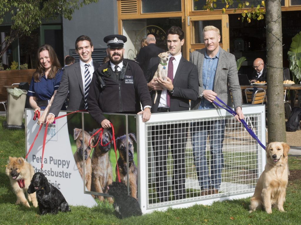 L to R Sinead McDermott, Ian Maclver, Ian Walker, Peter Blackburn and Iwan Thomas at The Pop-up Pet a Puppy Stressbuster clinic in Hackney.